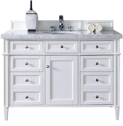 "James Martin Brittany Collection 650-V48-CWH- 48"" Cottage White Single Vanity with Seven Drawers, One Door, Tapered Legs, Satin Nickel Hardware and"