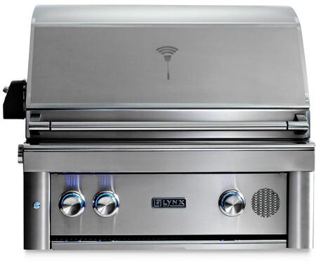 """Lynx SMART30x 30"""" Professional Series Built-In Smart Grill with 2 Trident ProSear2 Infrared Burners, 840 sq. in. Cooking Surface, Smart Wifi Connectivity, Rotisserie and Backlit Blue LED Knobs, in Stainless Steel"""