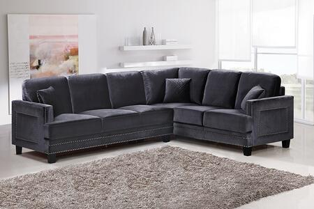 "Meridian Ferrara 655-SECTIONAL 109"" 2 Piece Sectional Sofa with Top Quality Bonded Velvet Upholstery, Silver Nail Heads Design and Quilted Pillows in"