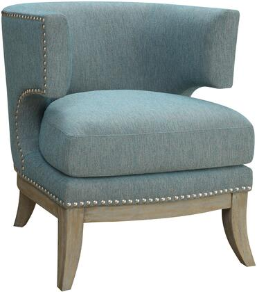 "Coaster Accent Seating Collection 31.5"" Accent Chair with Barrel Back, Nail Head Trim, Thick Cushion Seat, Flared Tapered Legs and Chenille Upholstery"