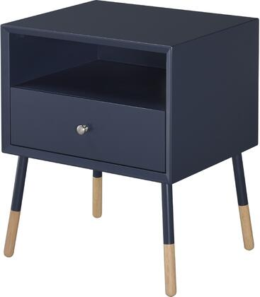 """Acme Furniture Sonria II Collection 20"""" End Table with 1 Drawer, 1 Open Compartment, Metal Powder Coating Legs, Metal Hardware, Bentwood and Rubberwood Construction in"""