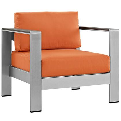 Modway EEI2266SLVORA Shore Series  Aluminum Frame  Patio Arm Chair