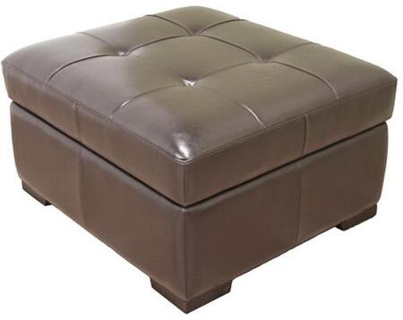 Wholesale Interiors D001001 Gratiano Series Traditional Leather Ottoman