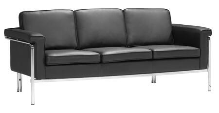 "Zuo 90016 Singular Collection 76"" Sofa with Chromed Steel, and Leatherette Upholstery"