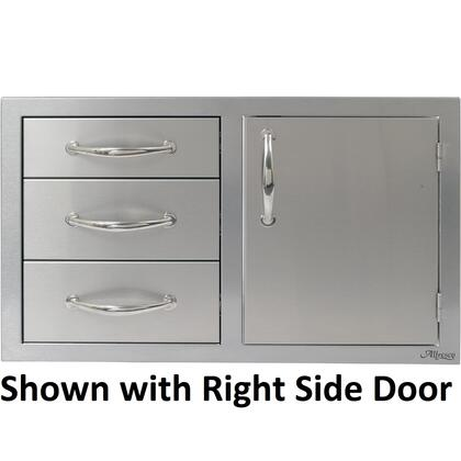 "Alfresco AB-DDC-X 32"" Combo Door and Drawer Unit With Three Drawers, Door On X Side, Commercial Stainless Steel Construction, and Storage Rail Inside in Stainless Steel"