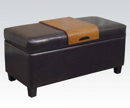 Acme Furniture 05639 Mavis Series Accent Armless Wood Bycast Leather Bench
