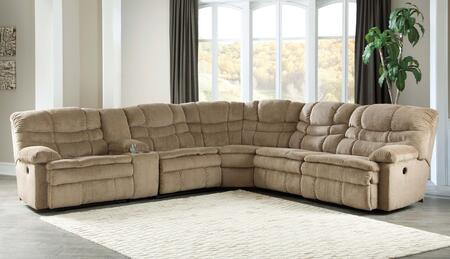 Signature Design by Ashley Zavion 66303SEC6PC 6-Piece Reclining Sectional Sofa with Left Arm Facing Recliner, Storage Console, Armless Recliner, Wedge, Armless Chair and Right Arm Facing Recliner in Caramel Color
