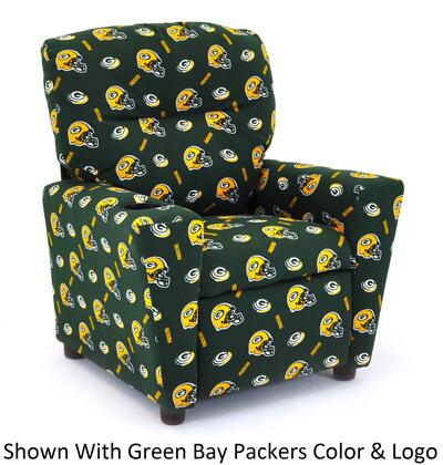 Imperial International 67-10 Kids Recliner With NFL Team Colors with A Pattern Of Team Logos and Helmets