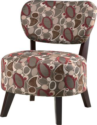 "Coaster Accent Seating 27"" Accent Chair with Retro Oblong Pattern, Dark Brown Tapered Wood Legs, Fabric Padded Seat and Back in"