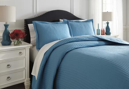 Signature Design by Ashley Raleda Q495003 3 PC Size Coverlet Set includes 1 Coverlet and 2 Shams with Solid Pattern and Polyester Material in Turquoise Color