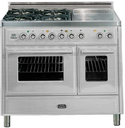 "Ilve UMTD100SDMP 40"" Freestanding Dual Fuel Range with 4 Sealed Burners, French Cooktop, 3.88 cu. ft. Total Oven Capacity, Warming Drawer, Rotisserie, Digital Clock and Timer, and 3 Oven Racks"