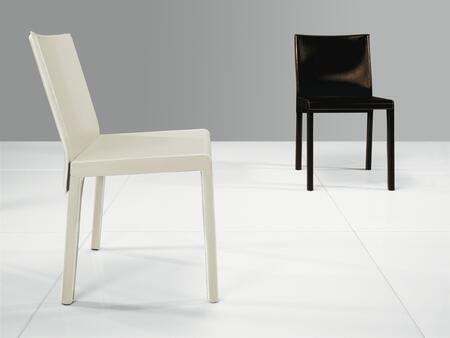 Modloft CDS097C0 Fleet Series Modern Leather Wood Frame Dining Room Chair
