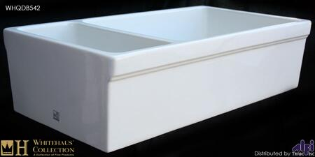 "Whitehaus WHQDB542X 36"" Quatro Alcove Double Bowl Reversible Fireclay Farmhouse Kitchen Sink in"
