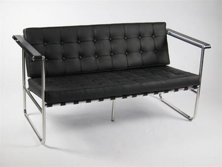 Fine Mod Imports FMI9248BLACK Celona Series Leather Stationary with Stainless Steel Frame Loveseat