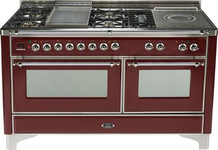 Ilve UMT150FSMPRB Majestic Techno Series Dual Fuel Freestanding Range with Sealed Burner Cooktop, 3.55 cu. ft. Primary Oven Capacity, Warming in Burgundy Red