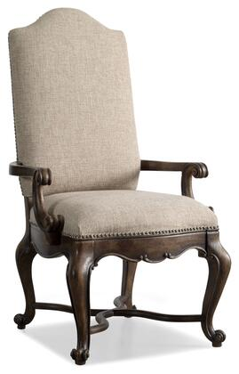 "Hooker Furniture Rhapsody Series 5070-755 49"" Traditional-Style Dining Room Upholstered Chair with Cabriole Legs, Carved Detailing and Fabric Upholstery in Beige"