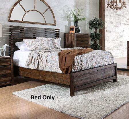 Furniture of America Hankinson CM7576CKX Bed with Transitional Style, Slatted Wingback Headboard, 2 Drawer Night Stand, Metal Handles in Rustic Natural Tone