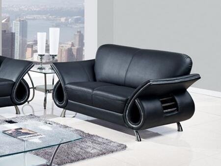 Global Furniture USA U559BLL Leather Stationary with Wood Frame Loveseat