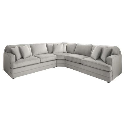 "Bassett Furniture Dalton Collection 3937-LSECTFCL/FC141-x 118"" Large L-Shaped Sectional Sofa with Fabric Upholstery, Loose Box Welted Seat and Sturdy Round Wood Legs in"