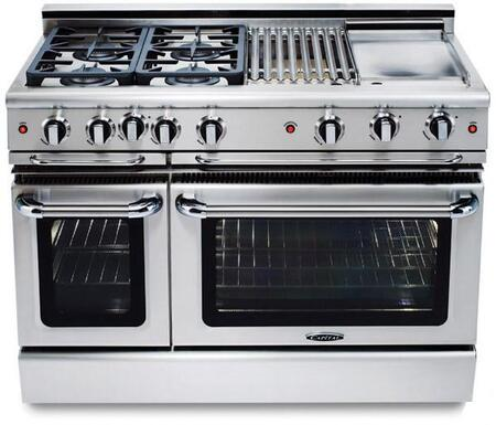 """Capital GCR488L 48"""" Precision Series Liquid Propane Freestanding Range with Sealed Burner Cooktop, 4.6 cu. ft. Primary Oven Capacity, in Stainless Steel"""