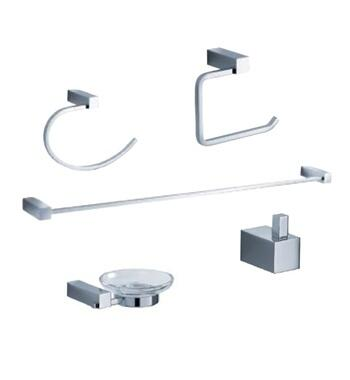 Fresca FAC0400 5-Piece Bathroom Accessory Set with Towel Bar, Soap Dish, Toilet Paper Holder, Towel Ring, Robe Hook, and Heavy Duty Brass Construction in