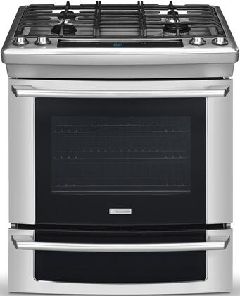 """Electrolux EW30GS65GS 30"""" Wave-Touch Series Slide-in Gas Range with Sealed Burner Cooktop, 4.2 cu. ft. Primary Oven Capacity, Warming in Stainless Steel"""