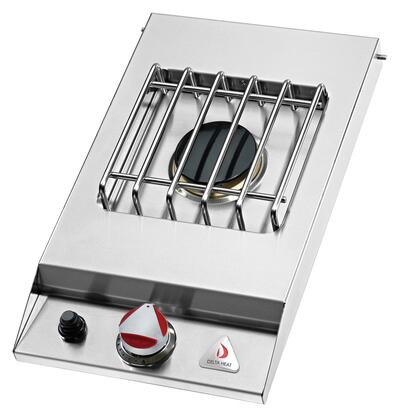 Delta Heat DHSB1D-X X built-in single Side Burner with 16,000 Btu sealed burner in stainless steel finish with stainless steel top cover