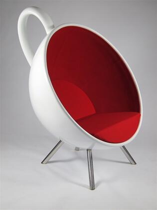 Fine Mod Imports FMI9244 Lounge Red Fabric Molded Fiberglass Frame Accent Chair