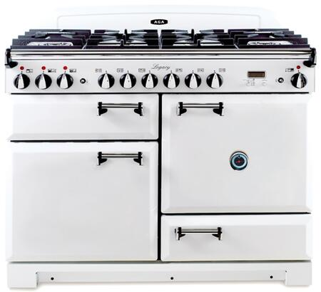 AGA ALEG44DFCDWHT Legacy Series Dual Fuel Freestanding Range with Sealed Burner Cooktop, 2.4 cu. ft. Primary Oven Capacity, Storage in White