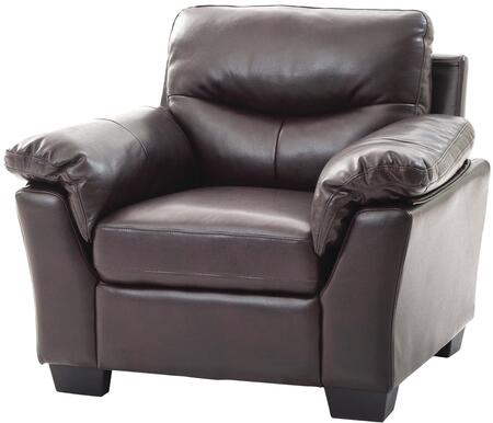 Glory Furniture G650C Faux Leather Armchair in Dark Brown