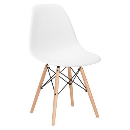 EdgeMod EM105NATWHI Vortex Series Modern Wood Frame Dining Room Chair