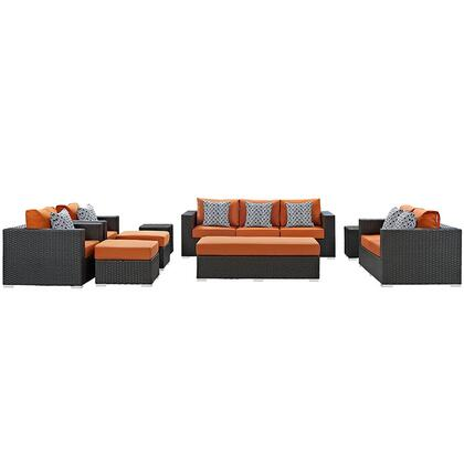 Modway Sojourn Collection EEI-2377-CHC- 9-Piece Outdoor Patio Sunbrella Sectional Set with Loveseat, Rectangle Ottoman, Sofa, 2 Armchairs, 2 Ottomans and 2 Side Tables in