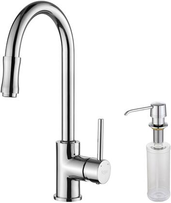 Kraus KPF1622KSD30 Premier Series Pull Down Kitchen Faucet with Solid Brass Construction, Easy-Clean Rubber Nozzles, Kerox Ceramic Cartridge, and Included Soap Dispenser