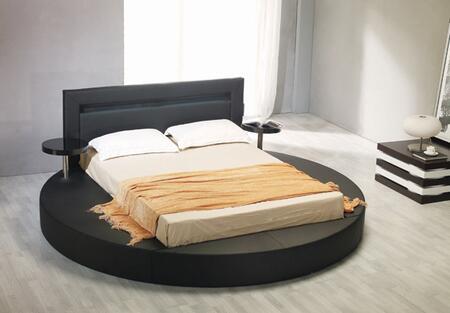 VIG Furniture VGKCPALAZZOBLK Modrest Palazzo Black Leatherette Round Platform Bed