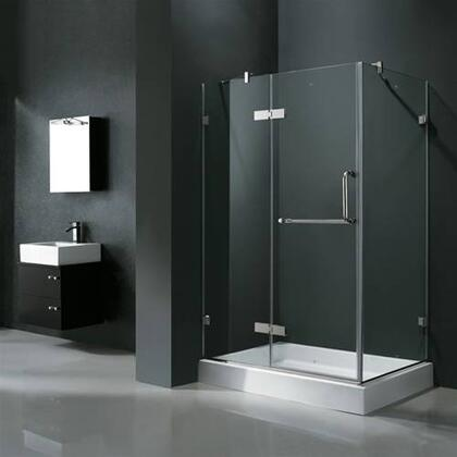 "Vigo VG6011XXCL48WL 32"" x 48"" Frameless 3/8"" Shower Enclosure with Left Base:"