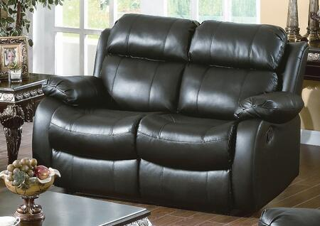 Yuan Tai WE9918LBK Weston Series Leather Loveseat with Wood Frame Loveseat