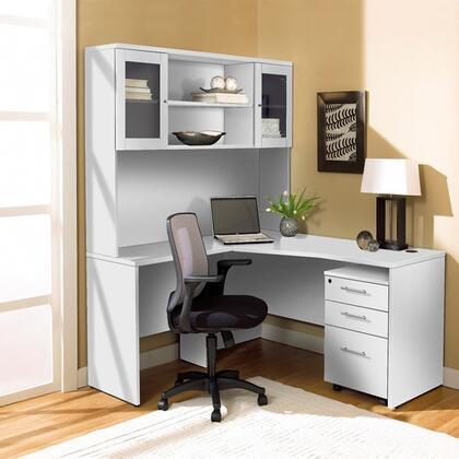 Unique Furniture 1C100002XXX Corner L Shaped Desk with Hutch and Mobile Pedestal