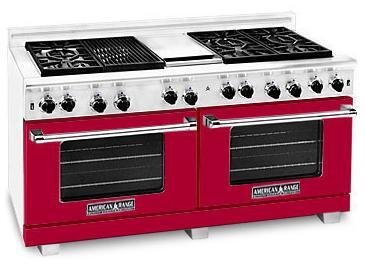 American Range ARR6062GDBR Heritage Classic Series Natural Gas Freestanding Range with Sealed Burner Cooktop, 4.8 cu. ft. Primary Oven Capacity, in Red