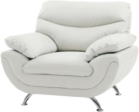 """Glory Furniture 44"""" Chair with Chrome Legs, Medium Firm Seating, Padded Arms, Split Back Cushions and Faux Leather Upholstery in"""