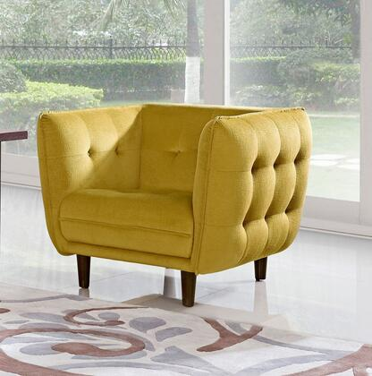Diamond Sofa VENICECHGD Venice Series Fabric Armchair with Wood Frame in Yellow