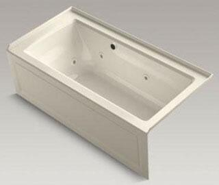 "Kohler K-1947-RAW Archer 60"" x 30"" Alcove Whirlpool Bath Tub with Bask Heated Surface, Integral Apron, Integral Flange and Right-Hand Drain in"