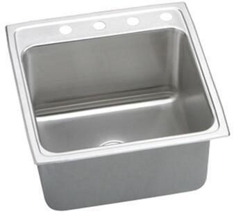 "Elkay DLR252110 Gourmet Lustertone Stainless Steel 25"" x 21-1/4"" Single Basin Top Mount Kitchen Sink:"