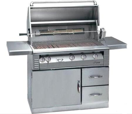 """Alfresco LX2 ALX2-42RFG 42"""" Gas Grill on Refrigerated Cart With 770 Sq. in. Cooking Surface, 3 x 27,500 Main Burners, Integrated Rotisserie, Rotisserie, Smoker, and High Intensity Halogen Lights in"""
