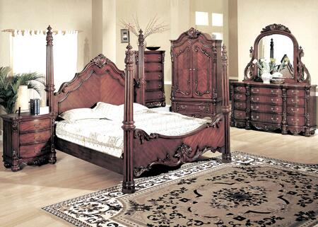 Yuan Tai 5290 Savannah Poster Bed in Dark Cherry Finish