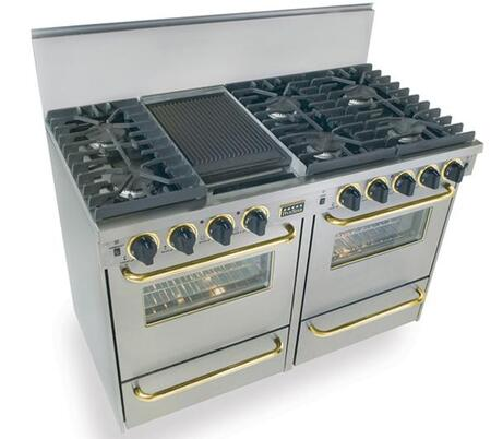 """FiveStar TTN5317 48"""" Freestanding Gas-Natural Gas Range With 6 Sealed Ultra High-Low Burners, Two 2.92 Cu. Ft. Convection Ovens, Manual Clean, Broiler Drawer, 120 Volts, 5 Amps, In"""