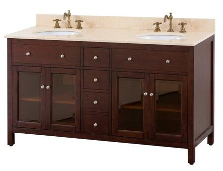 "Avanity LEXINGTON-VX-LE Lexington Series X"" Sink Vanity Only, with Tinted Glass Doors, Adjustable Height Levelers, and Brushed Nickel Finished Hardware, in Light Espresso"