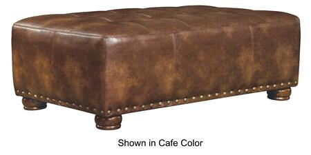 """Jackson Furniture Pennington Collection 4439-28- 51"""" Cocktail Ottoman with Faux Leather Upholstery, Nail Head Accents and Bun Feet in"""