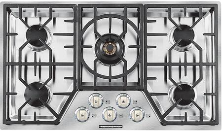 """American Range ARDCT365 36"""" Vitesse Cooktop with 5 Sealed Burners, 500 BTU's Simmer Setting, Brass Burner Heads, Porcelain Burner Caps, Automatic Electronic Ignition and Die-Cast Black Satin Knobs, in Stainless Steel"""