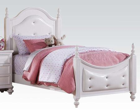 Acme Furniture Athena 3020 Poster Bed with Decorative Turned Legs, Pinewood and MDF Construction, Crystal Tufted Headboard and Footboard in White Color
