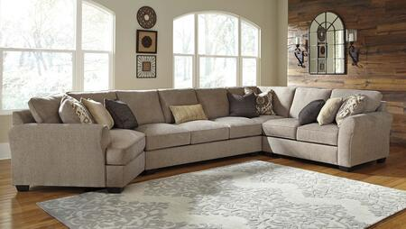 Benchcraft Pantomine 39102CDASWL 4-Piece Sectional Sofa with X Arm Facing Cuddler, Armless Sofa, Wedge and X Arm Facing Loveseat in Driftwood Color